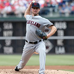 Cleveland Indians starting pitcher Corey Kluber throws against the Philadelphia Phillies in the second inning of a interleague  baseball game Wednesday, May 15, 2013, in Philadelphia.  The I …