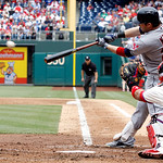 Cleveland Indians' Jason Kipnis hits a hits a double against the Philadelphia Phillies during the third inning of a interleague baseball game Wednesday, May 15, 2013, in Philadelphia.  (AP P …