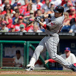 Cleveland Indians' Jason Kipnis hits a three-run home run against the Philadelphia Phillies during the eight inning of a interleague baseball game Wednesday, May 15, 2013, in Philadelphia. T …