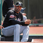 Miami Marlins manager Ozzie Guillen sits on the dugout steps during the seventh inning against the Cleveland Indians in an interleague baseball game in Cleveland on Sunday, May 20, 2012.  (A …