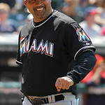 Miami Marlins manager Ozzie Guillen is seen on the field in the ninth inning against the Cleveland Indians in an interleague baseball game in Cleveland on Sunday, May 20, 2012.  (AP Photo/Am …