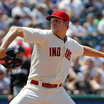 Cleveland Indians relief pitcher Nick Hagadone throws against the Miami Marlins in the seventh inning of an interleague baseball game in Cleveland on Sunday, May 20, 2012.  (AP Photo/Amy San …