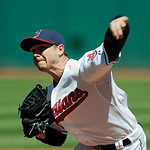 Cleveland Indians starting pitcher Scott Kazmir delivers against the Oakland Athletics in the first inning of a baseball game Thursday, May 9, 2013, in Cleveland. (AP Photo/Mark Duncan)