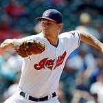 Cleveland Indians relief pitcher Scott Barnes delivers against the Oakland Athletics in the ninth inning of a baseball game Thursday, May 9, 2013, in Cleveland. The Indians won 9-2. (AP Phot …