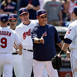 Cleveland Indians manager Terry Francona, second from right, congratulates Drew Stubbs (11) after a 9-2 win over the Oakland Athletics in a baseball game Thursday, May 9, 2013, in Cleveland. …
