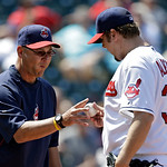 Cleveland Indians manager Terry Francona takes relief pitcher Matt Albers (32) out of a baseball game against the Oakland Athletics in the eighth inning Thursday, May 9, 2013, in Cleveland.  …