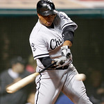 Chicago White Sox's Dayan Viciedo hits a solo home run off Cleveland Indians relief pitcher Vinnie Pestano during the ninth inning of a baseball game, Wednesday, Oct. 3, 2012, in Cleveland.  …