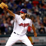 Cleveland Indians starting pitcher Chris Seddon pitches in a baseball game against the Chicago White Sox, Wednesday, Oct. 3, 2012, in Cleveland. (AP Photo/Tony Dejak)