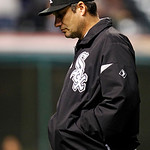 Chicago White Sox manager Robin Ventura walks back to the dugout in the eighth inning of a baseball game against the Cleveland Indians, Wednesday, Oct. 3, 2012, in Cleveland. The White Sox w …