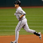 Chicago White Sox's Dan Johnson runs the bases after hitting a two-run home run off Cleveland Indians starting pitcher David Huff in the second inning of a baseball game, Wednesday, Oct. 3,  …