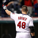 Cleveland Indians' Travis Hafner waves to fans before batting in the ninth inning of a baseball game against the Chicago White Sox, Wednesday, Oct. 3, 2012, in Cleveland. The White Sox won 9 …