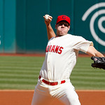 Cleveland Indians starting pitcher Zach McAllister pitches in a baseball game against the Kansas City Royals, Sunday, Sept. 30, 2012, in Cleveland. (AP Photo/Tony Dejak)