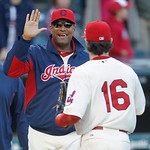 Cleveland Indians interim manager Sandy Alomar, left, congratulates Jason Donald after the Indians defeated the Kansas City Royals 15-3 in a baseball game, Sunday, Sept. 30, 2012, in Clevela …