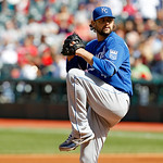 Kansas City Royals starting pitcher Luke Hochevar pitches in a baseball game against the Cleveland Indians, Sunday, Sept. 30, 2012, in Cleveland. (AP Photo/Tony Dejak)