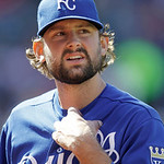Kansas City Royals starting pitcher Luke Hochevar walks to the dugout in a baseball game against the Cleveland Indians, Sunday, Sept. 30, 2012, in Cleveland. (AP Photo/Tony Dejak)