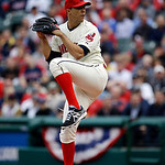Cleveland Indians starting pitcher Ubaldo Jimenez throws in the first inning in a home opener baseball game against the New York Yankees, Monday, April 8, 2013, in Cleveland. (AP Photo/Mark  …