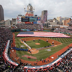 The New York Yankees and the Cleveland Indians are introduced before a baseball game, Monday, April 8, 2013, in Cleveland. (AP Photo/Tony Dejak)