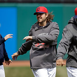 Cleveland Indians relief pitcher Chris Perez, center, stretches before a baseball game against the New York Yankees Monday, April 8, 2013, in Cleveland. (AP Photo/Mark Duncan)
