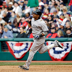 New York Yankees' Robinson Cano runs the bases after hitting a solo home run off Cleveland Indians relief pitcher Matt Albers in the sixth inning of a baseball game, Monday, April 8, 2013, i …