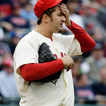 Cleveland Indians relief pitcher Matt Albers reacts after giving up a solo home run to New York Yankees' Robinson Cano in the sixth inning of a baseball game, Monday, April 8, 2013, in Cleve …