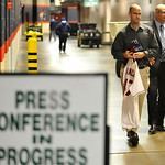 New Cleveland Indians manager Terry Francona, right, walks to a press conference with Bart Swain, Indians' director, baseball information, at Progressive Field Monday, Oct. 8, 2012. (AP Phot …