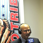 New Cleveland Indians manager Terry Francona is interviewed after a news conference at Progressive Field Monday, Oct. 8, 2012 in Cleveland. (AP Photo/David Richard)