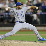 American League's Greg Holland of the Kansas City Royals pitches during the seventh inning of the MLB All-Star baseball game, on Tuesday, July 16, 2013, in New York. (AP Photo/Kathy Willens)