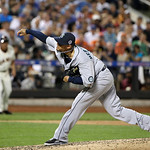 American League's Felix Hernandez, of the Seattle Mariners, pitches during the fourth inning of the MLB All-Star baseball game, on Tuesday, July 16, 2013, in New York. (AP Photo/Matt Slocu …