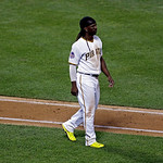 National League's Andrew McCutchen, of the Pittsburgh Pirates, reacts after striking out during the sixth inning of the MLB All-Star baseball game, on Tuesday, July 16, 2013, in New York.  …