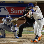 National League's David Wright, of the New York Mets, hits a single during the seventh inning of the MLB All-Star baseball game, on Tuesday, July 16, 2013, in New York. (AP Photo/Frank Fra …