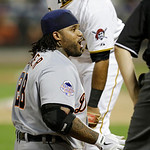 American League's Prince Fielder, of the Detroit Tigers, reacts after sliding into third base on a triple in the ninth inning of the MLB All-Star baseball game, on Tuesday, July 16, 2013,  …
