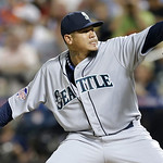 American League's Felix Hernandez, of the Seattle Mariners, pitches during the fourth inning of the MLB All-Star baseball game, on Tuesday, July 16, 2013, in New York. (AP Photo/Kathy Will …