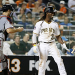 National League's Andrew McCutchen, of the Pittsburgh Pirates, flips his bat after striking out to end the sixth inning of the MLB All-Star baseball game, on Tuesday, July 16, 2013, in New …