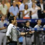 "Singer Marc Anthony sings ""God Bless America"" during the seventh inning of the MLB All-Star baseball game, on Tuesday, July 16, 2013, in New York. (AP Photo/Matt Slocum)"