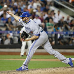 American League's Steve Delabar, of the Toronto Blue Jays, pitches during the seventh inning of the MLB All-Star baseball game, on Tuesday, July 16, 2013, in New York. (AP Photo/Matt Slocu …
