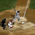 American League's Miguel Cabrera, of the Detroit Tigers, hits a double during the fourth inning of the MLB All-Star baseball game, on Tuesday, July 16, 2013, in New York. (AP Photo/Julio C …
