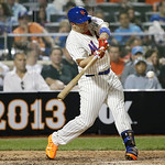 National League's David Wright, of the New York Mets, singles to center field during the seventh inning of the MLB All-Star baseball game, on Tuesday, July 16, 2013, in New York. (AP Photo …
