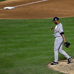 American League's Mariano Rivera, of the New York Yankees, reacts after pitching during the eighth inning of the MLB All-Star baseball game, on Tuesday, July 16, 2013, in New York. (AP Pho …