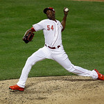 National League's Aroldis Chapman, of the Cincinnati Reds, throws during the seventh inning of the MLB All-Star baseball game, on Tuesday, July 16, 2013, in New York. (AP Photo/Julio Corte …