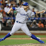 American League's Brett Cecil, of the Toronto Blue Jays, pitches during the seventh inning of the MLB All-Star baseball game, on Tuesday, July 16, 2013, in New York. (AP Photo/Matt Slocum)