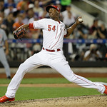 National League's Aroldis Chapman, of the Cincinnati Reds, pitches during the seventh inning of the MLB All-Star baseball game, on Tuesday, July 16, 2013, in New York. (AP Photo/Matt Slocu …