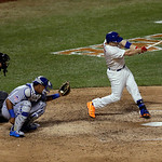 National League's David Wright, of the New York Mets, hits a single during the seventh inning of the MLB All-Star baseball game, on Tuesday, July 16, 2013, in New York. (AP Photo/Julio Cor …
