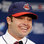 Cleveland Indians' Nick Swisher answers questions during a baseball news conference, Thursday, Jan. 3, 2013, in Cleveland. Swisher passed his physical with the Indians on Thursday and signed …