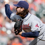 Cleveland Indians pitcher Chris Perez delivers against the Detroit Tigers in the ninth inning of a baseball game Sunday, April 11, 2010, in Detroit. Perez threw a wild pitch to Tigers' Scott …