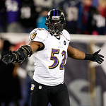 Baltimore Ravens inside linebacker Ray Lewis celebrates during the second half of the NFL football AFC Championship football game against the New England Patriots in Foxborough, Mass., Sunda …