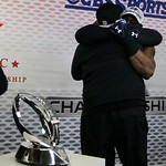Baltimore Ravens owner Stephen J. Bisciotti is hugged by Ray Lewis after the NFL football AFC Championship football game against the New England Patriots in Foxborough, Mass., Sunday, Jan. 2 …