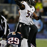 Baltimore Ravens inside linebacker Ray Lewis (52) reacts after the Ravens recovered a fumble during the second half of the NFL football AFC Championship football game against the New England …
