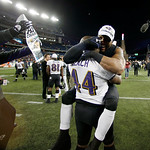 Baltimore Ravens inside linebacker Ray Lewis, right, celebrates with Vonta Leach (44) after the NFL football AFC Championship football game against the New England Patriots in Foxborough, Ma …
