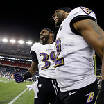 Baltimore Ravens inside linebacker Ray Lewis, right and Chris Johnson celebrate after the NFL football AFC Championship football game against the New England Patriots in Foxborough, Mass., S …