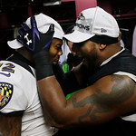 Baltimore Ravens inside linebacker Ray Lewis, right, and Jacoby Jones celebrate in the team's locker room after the NFL football AFC Championship football game against the New England Patrio …